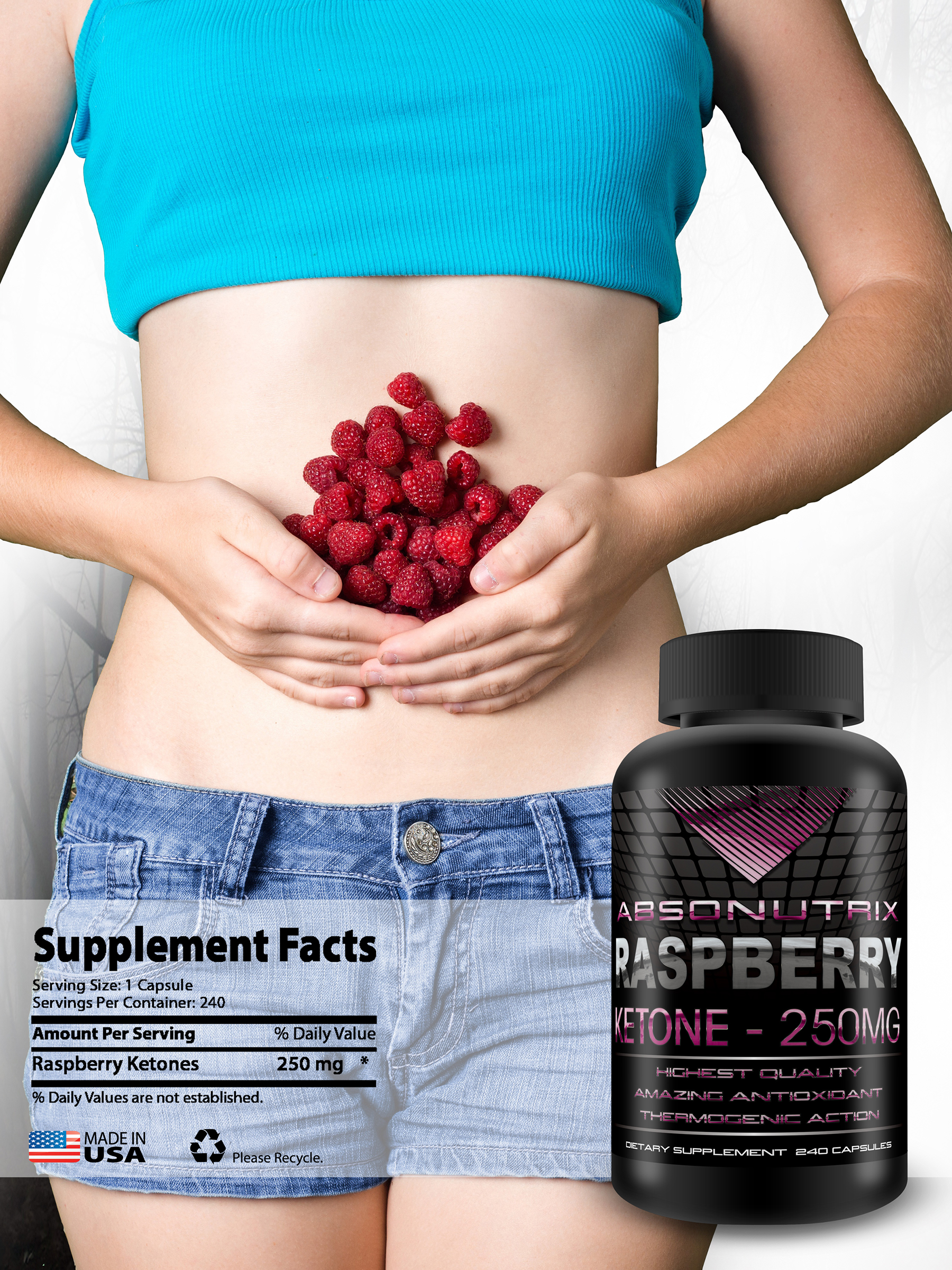 Absonutrix Raspberry Ketone 250 mg in each capsules 60 caps